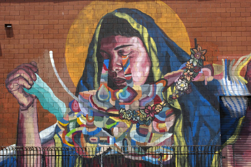 Mural depicts a weeping woman