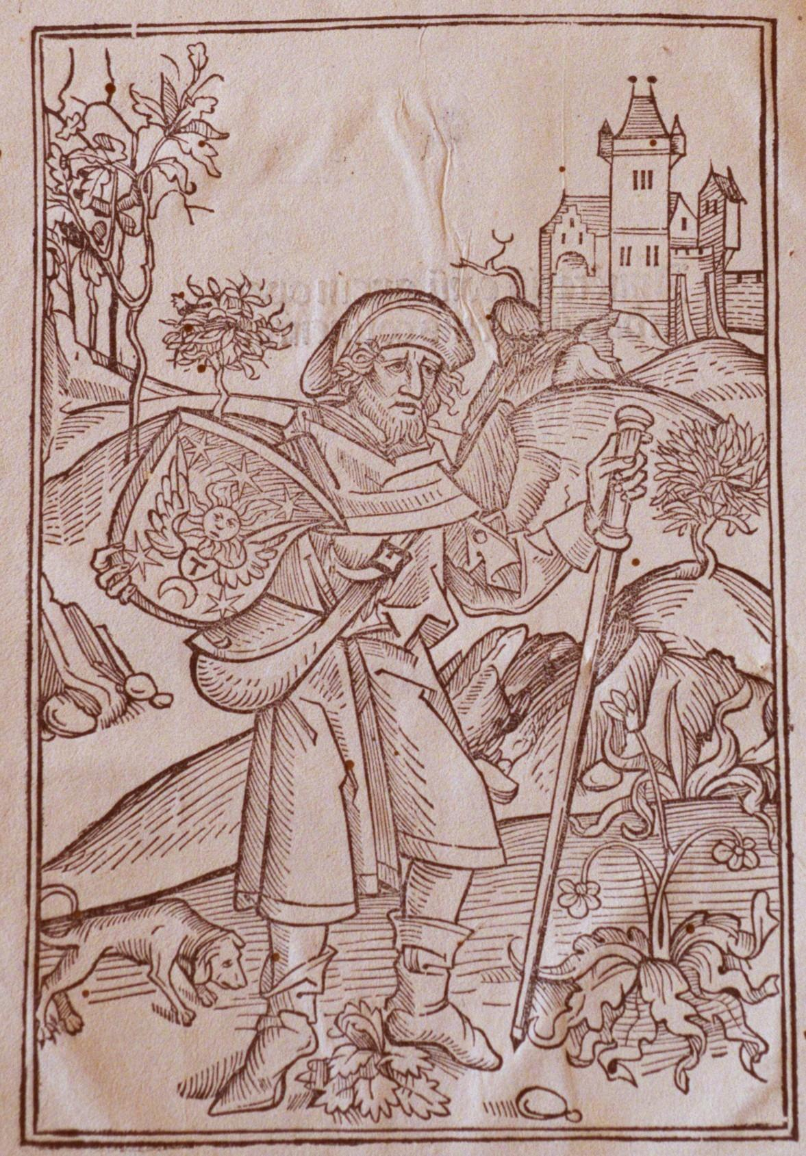 Woodcut Depicting a Pilgrim Passing a Castle