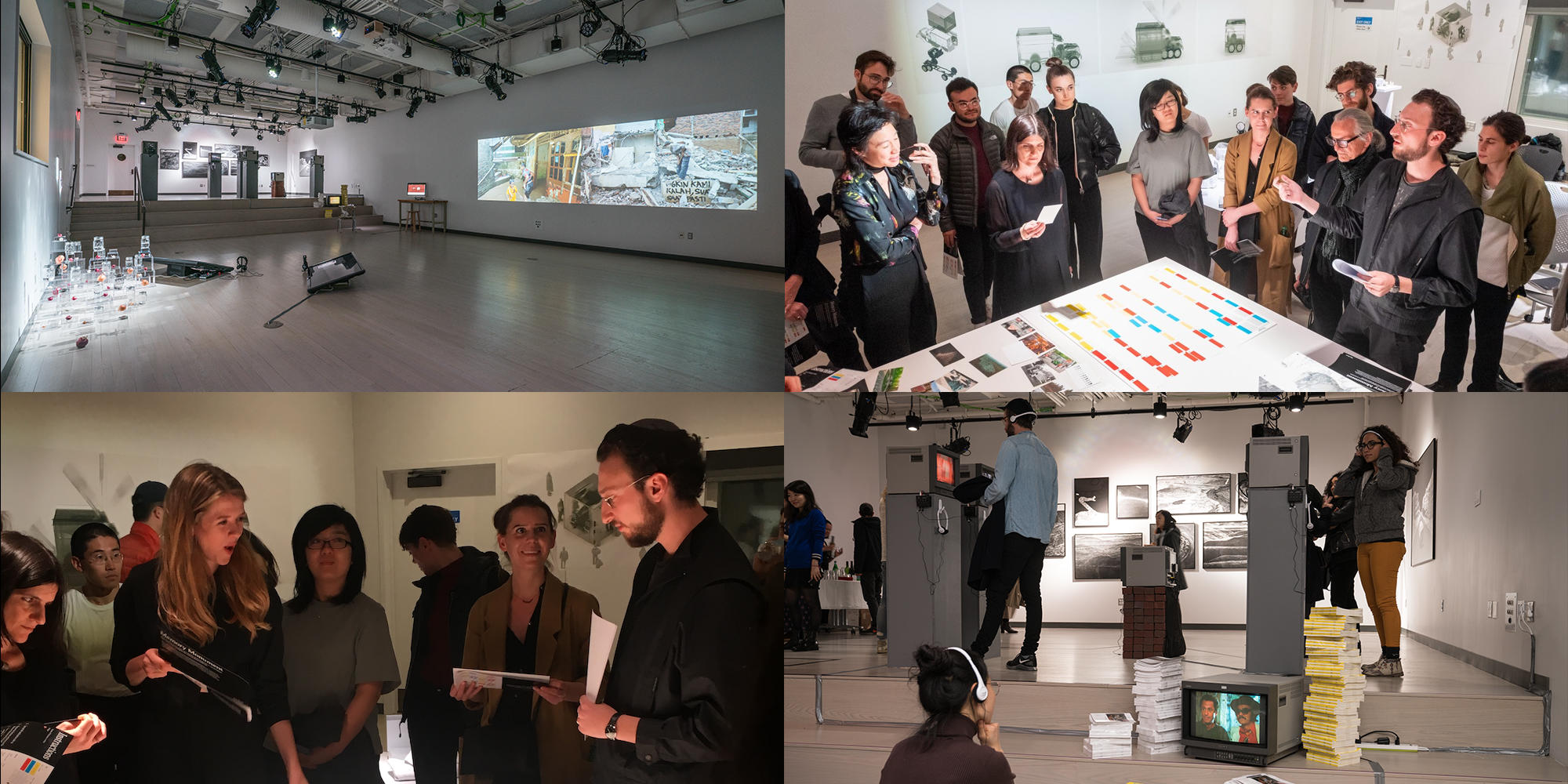 A grid of artists and visitors to the annex