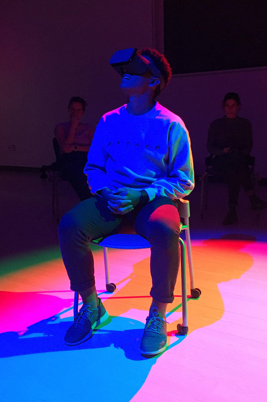 student with a virtual reality headset
