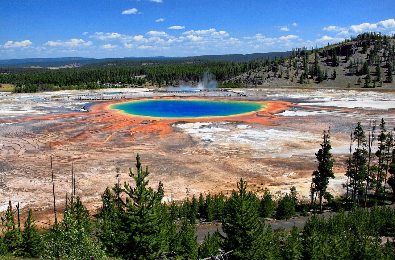 Grand Prismatic Spring and Midway Geyser Basin from above in Yellowstone National Park