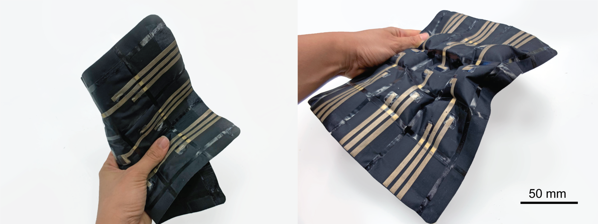 Two images of the STATS (which look like flat black fabric with thin bronze-colored strips), one in a deflated state and the other inflated