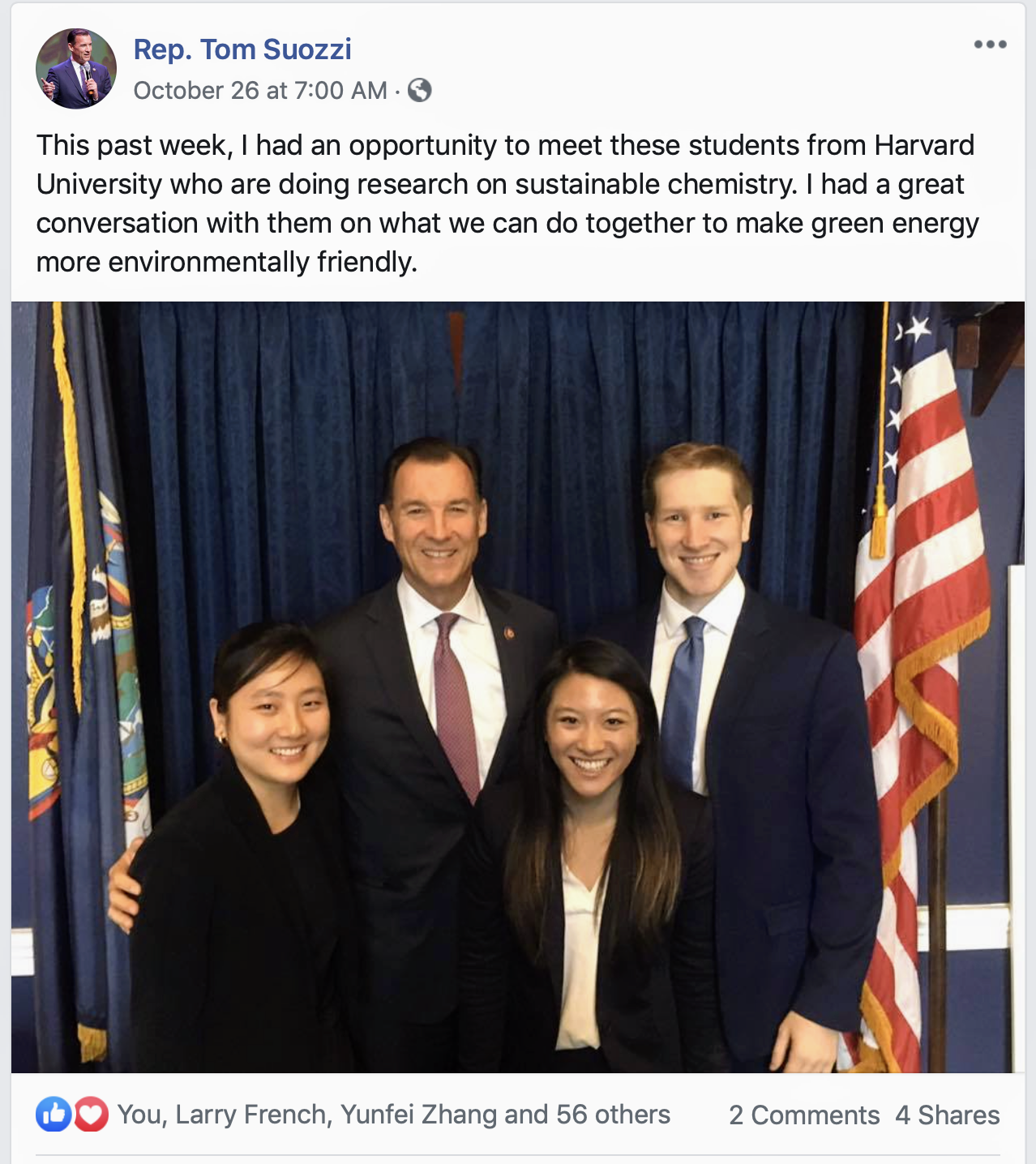 Rep. Tom Suozzi posts on Facebook his meeting with Harvard University students about sustainable chemistry. In the photo, he poses for a photo with three students.