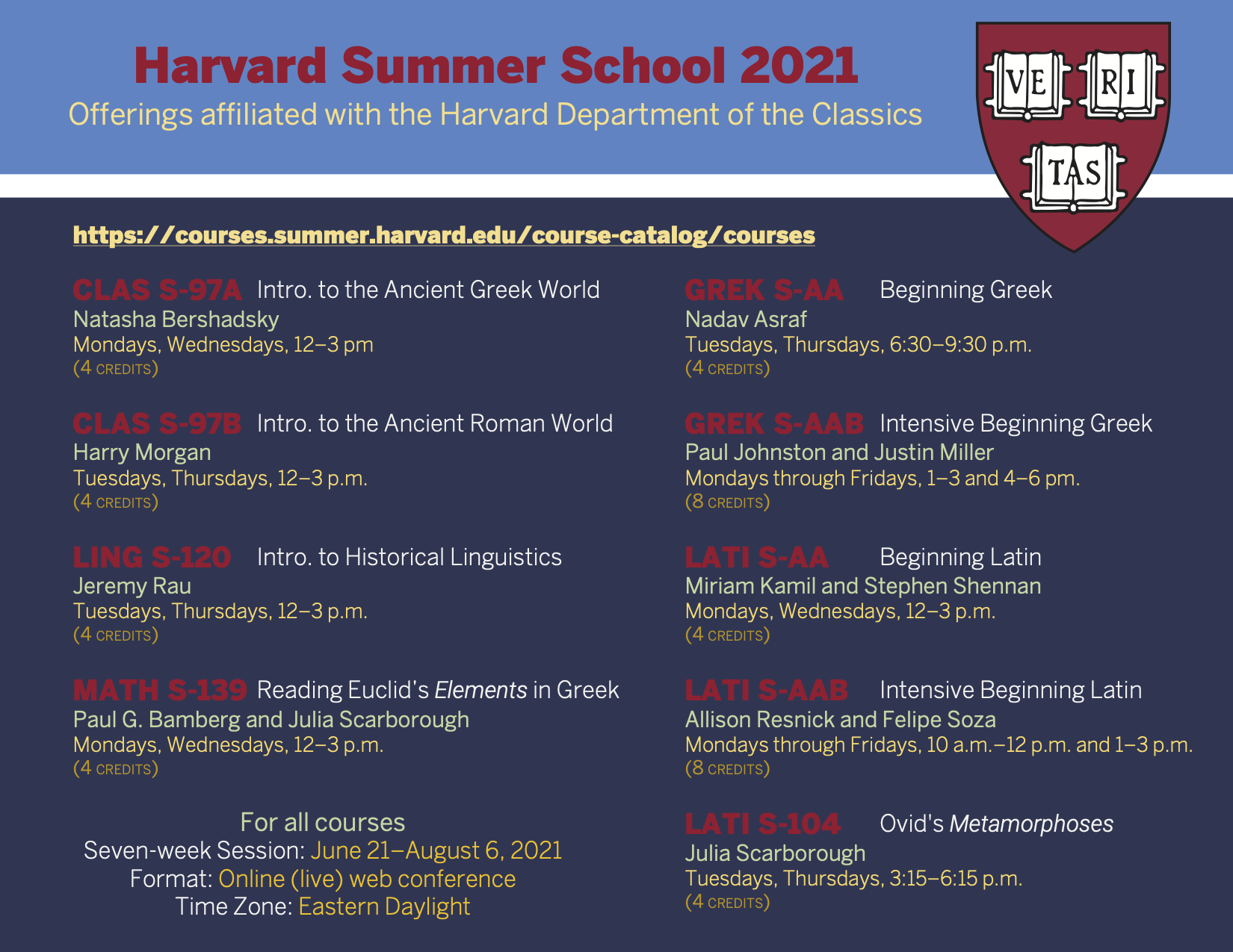 Harvard Summer School 2021 Classics courses