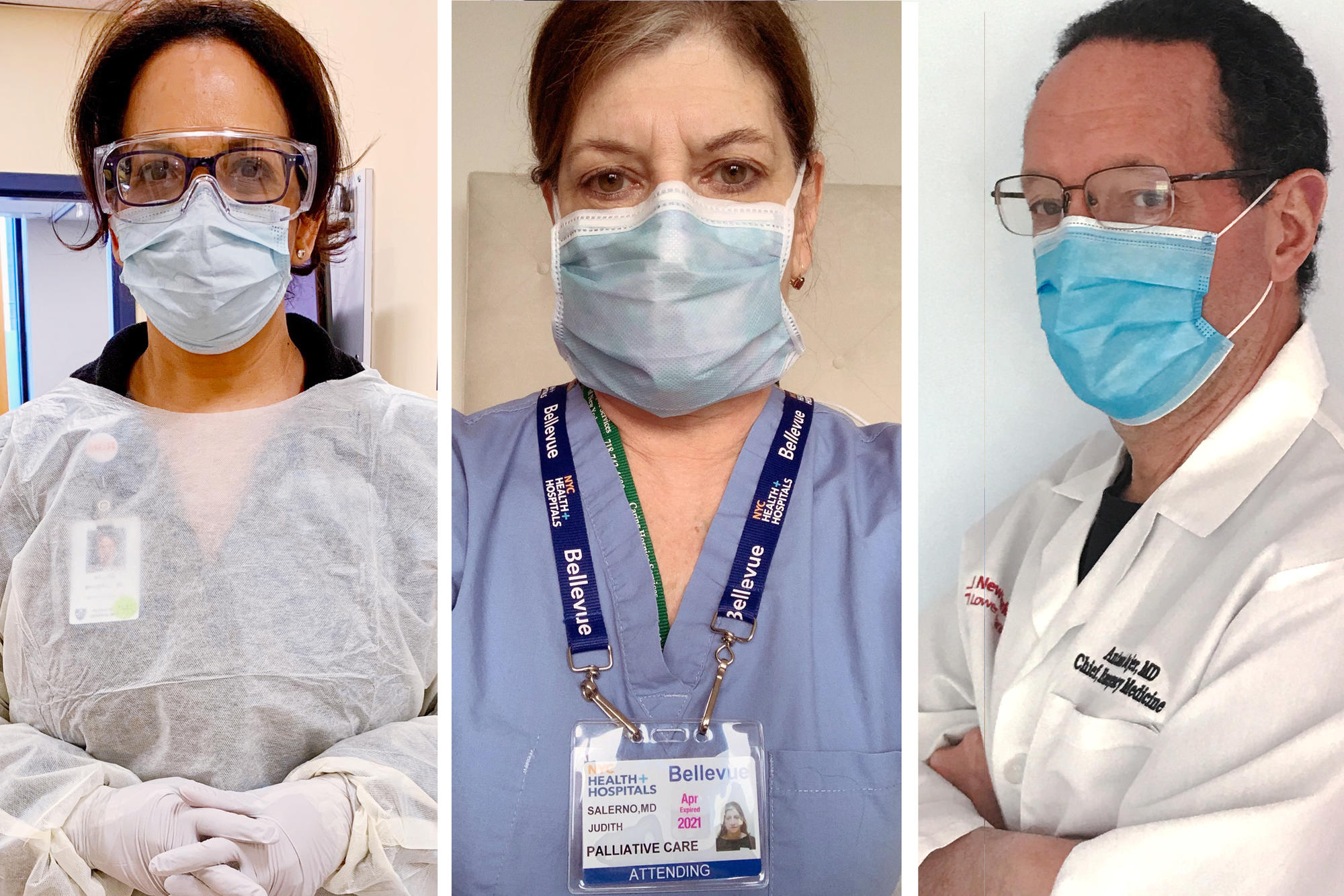Medical workers wearing face masks