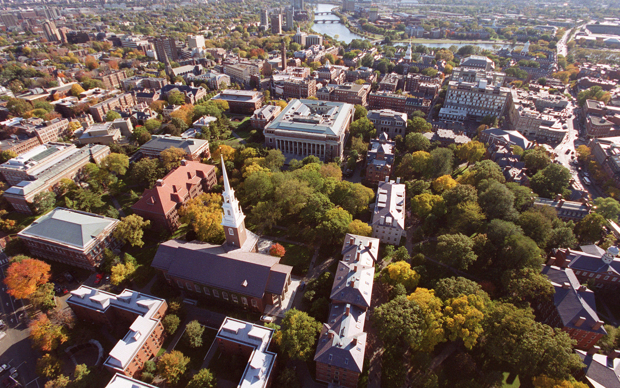 Aerial of Harvard landscape