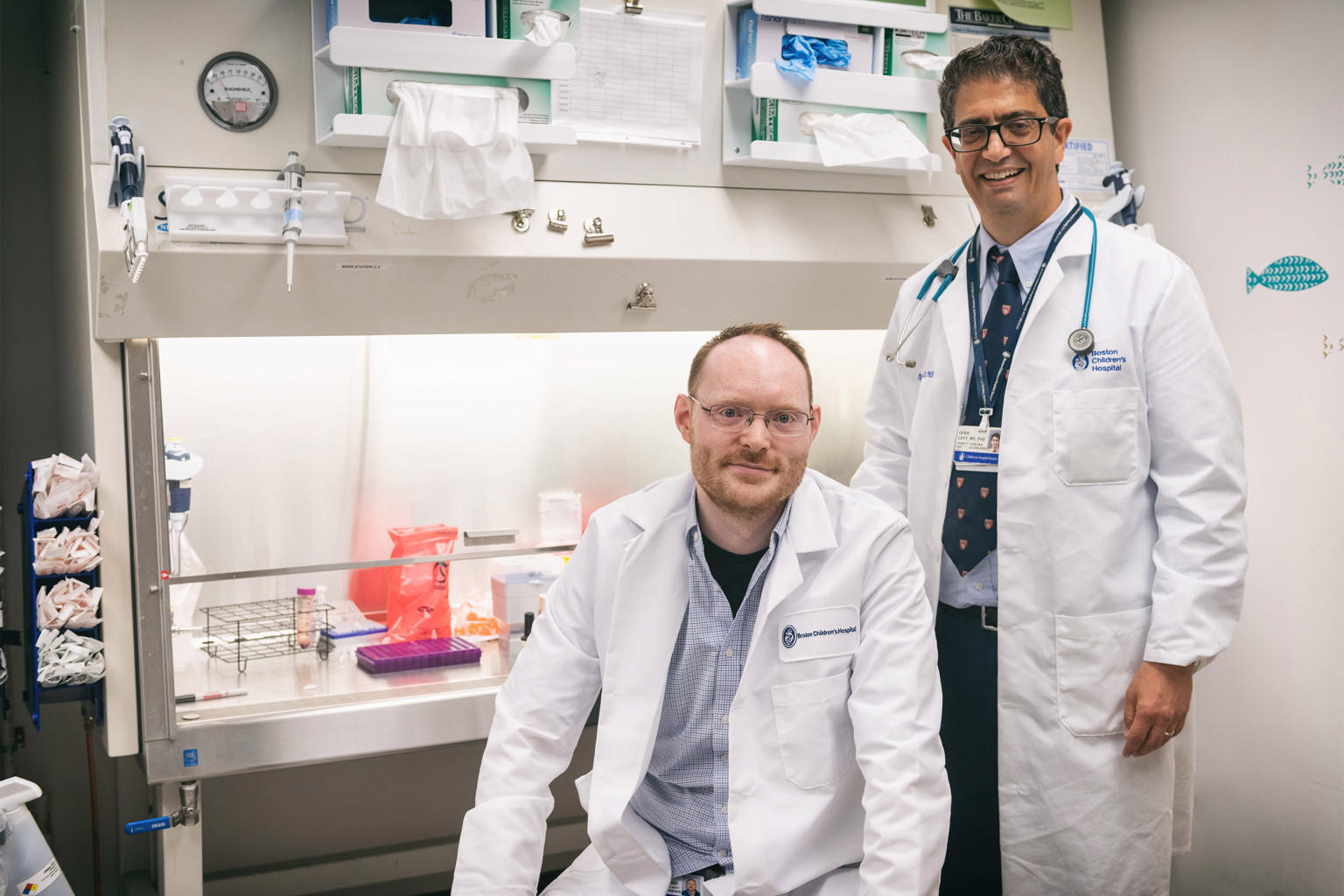 Ofer Levy and David Dowling working on vaccine