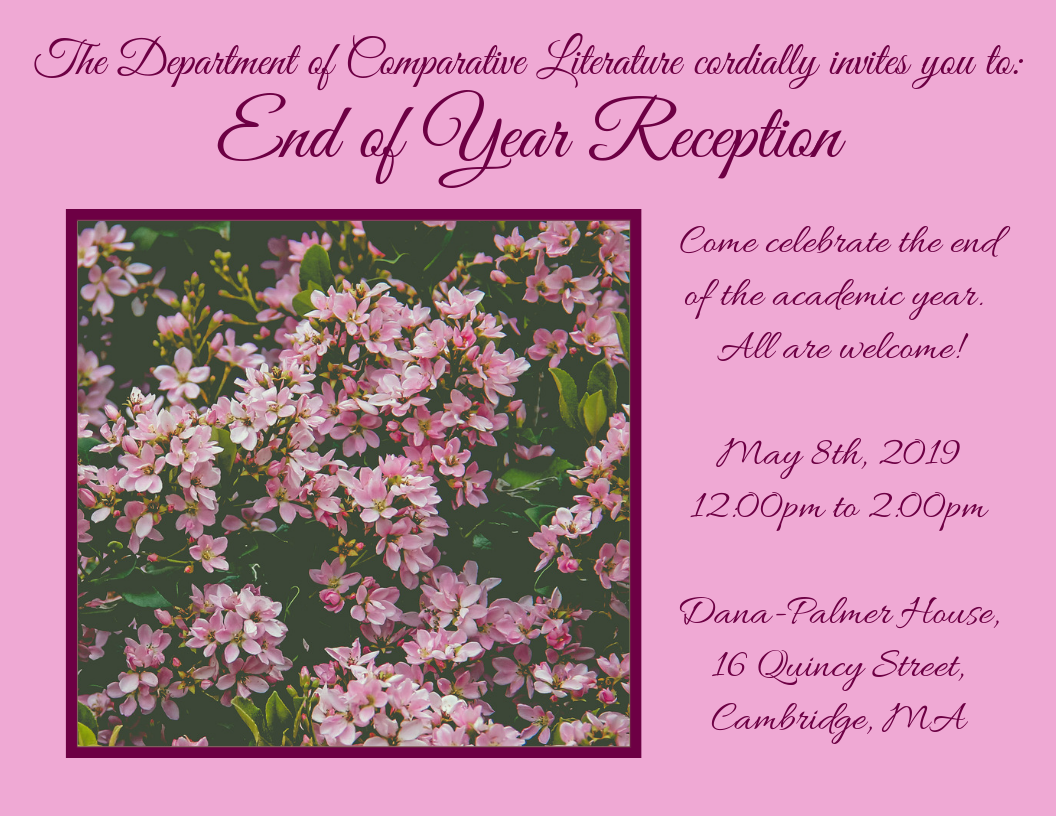 End of Year Reception on May 8th