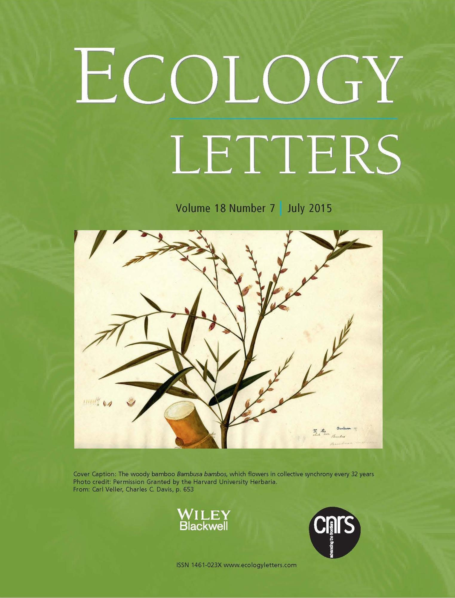 2015 Ecology Letters 18 (7)