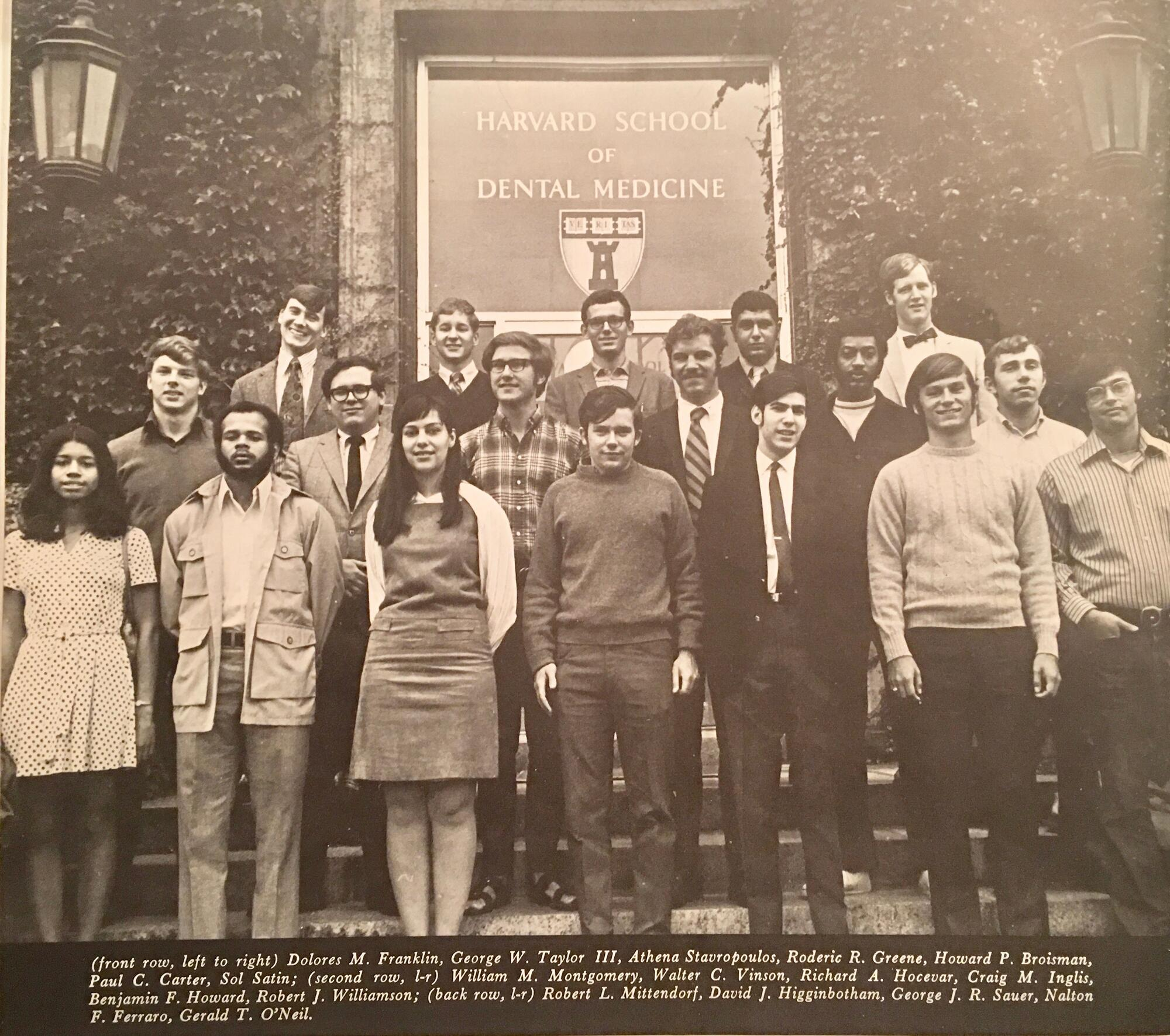 DMD Class of 1974 on front steps of school