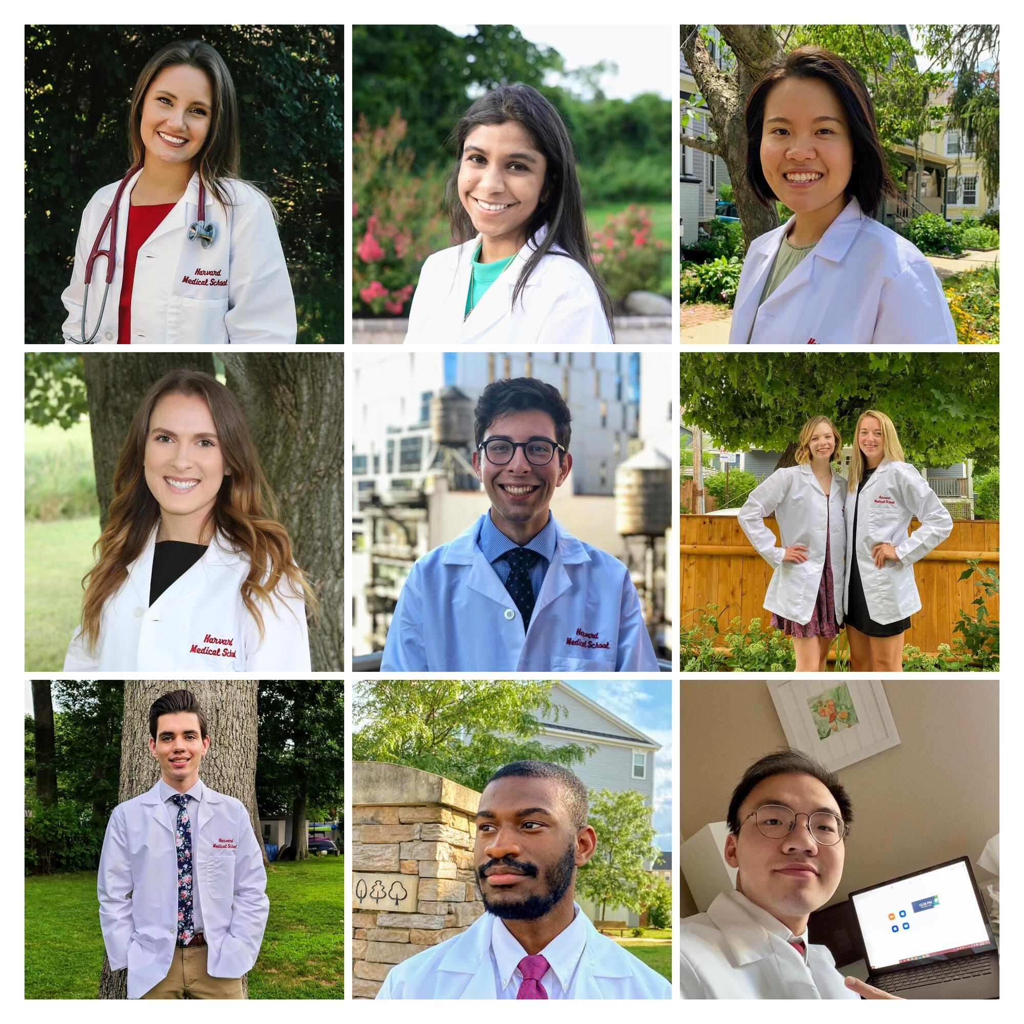 collage of students in white medical coats