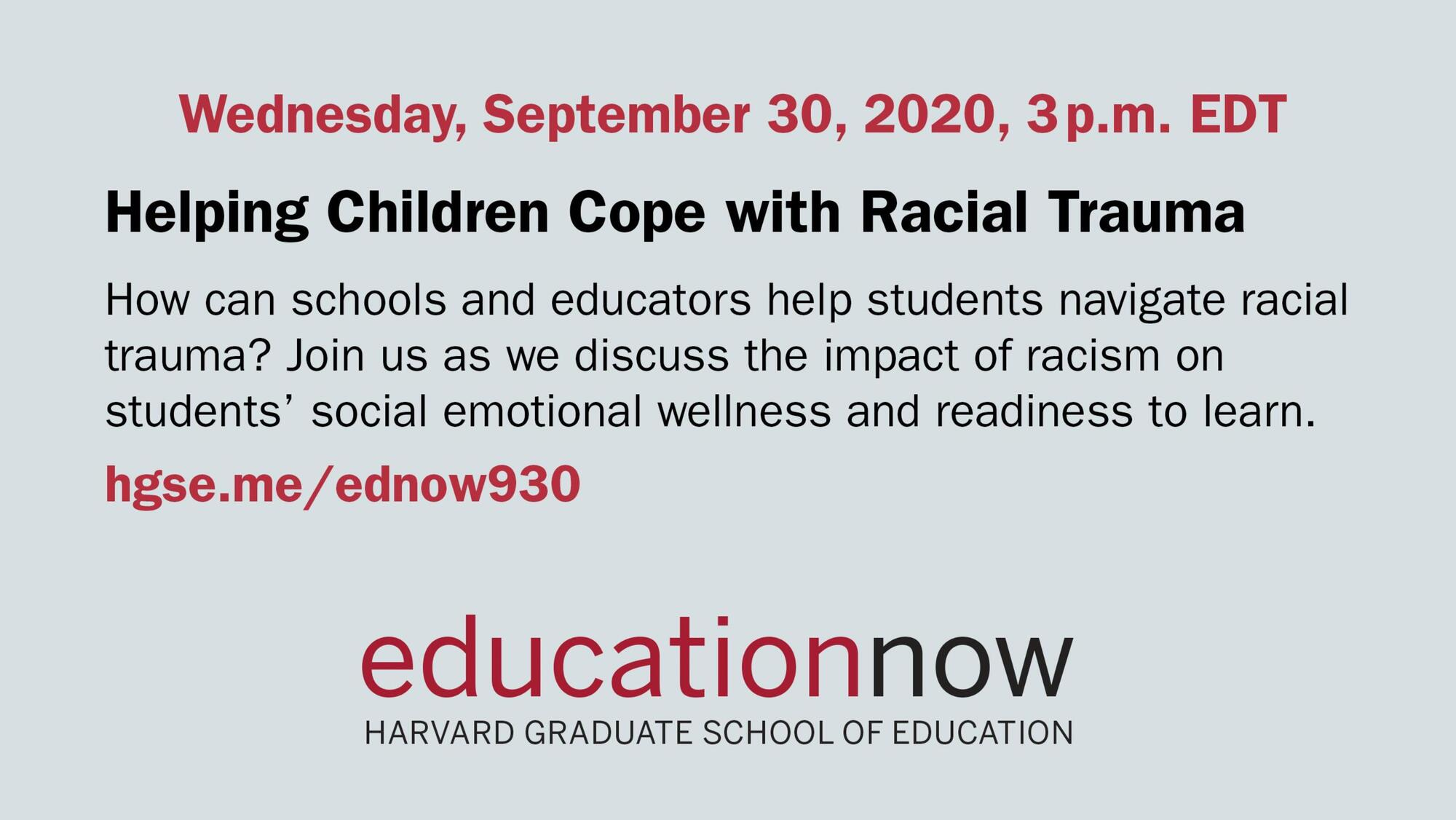 Event Flier: Helping Children Cope with Racial Trauma