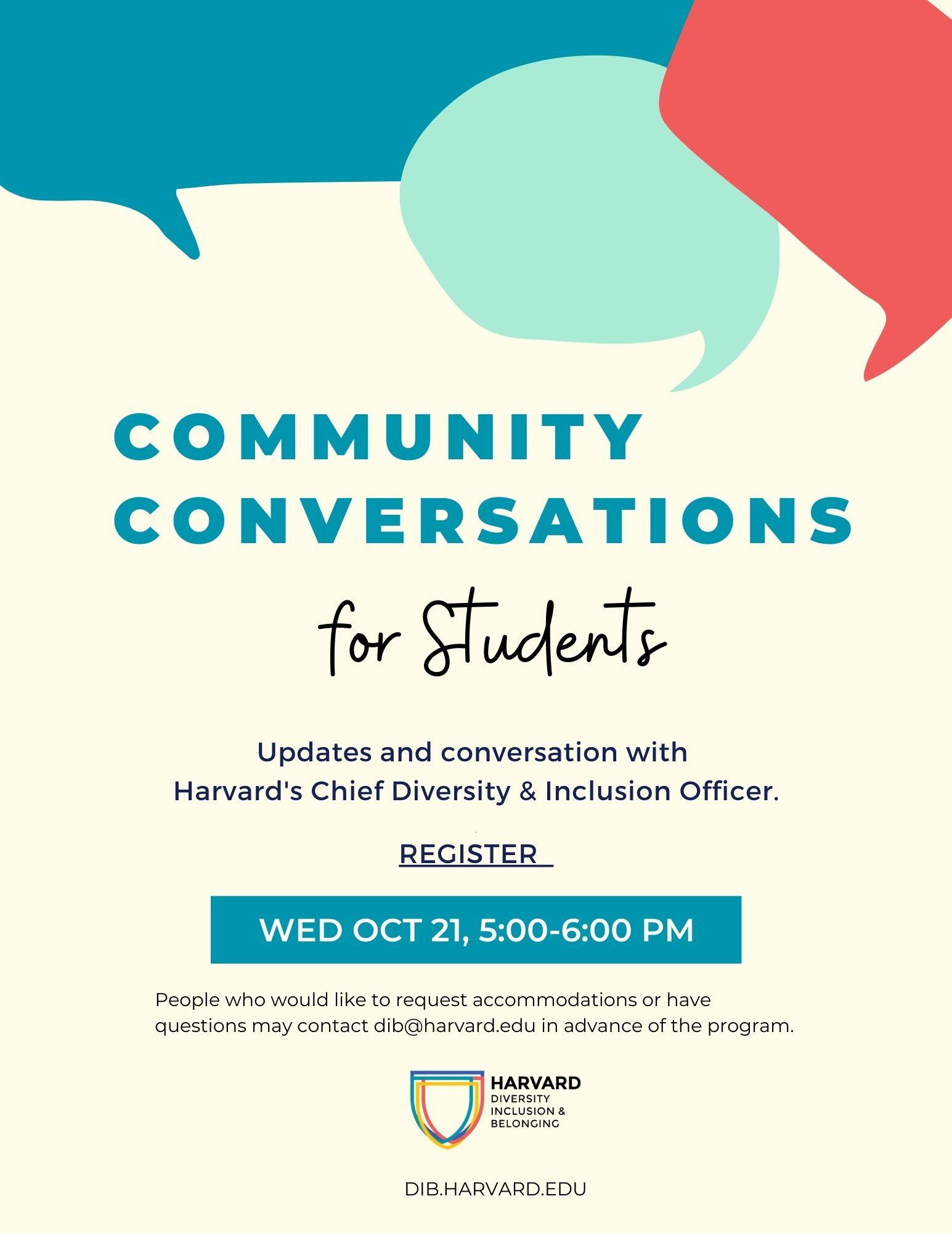 Community Conversation Students Flyer Image