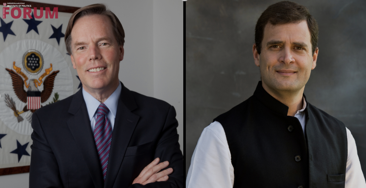 Two side-by-side images of the guest speakers; one is wearing a suit and tie while standing in front of an American related symbol, while the other is wearing a vest with a white undergarment while in front of a gray background.
