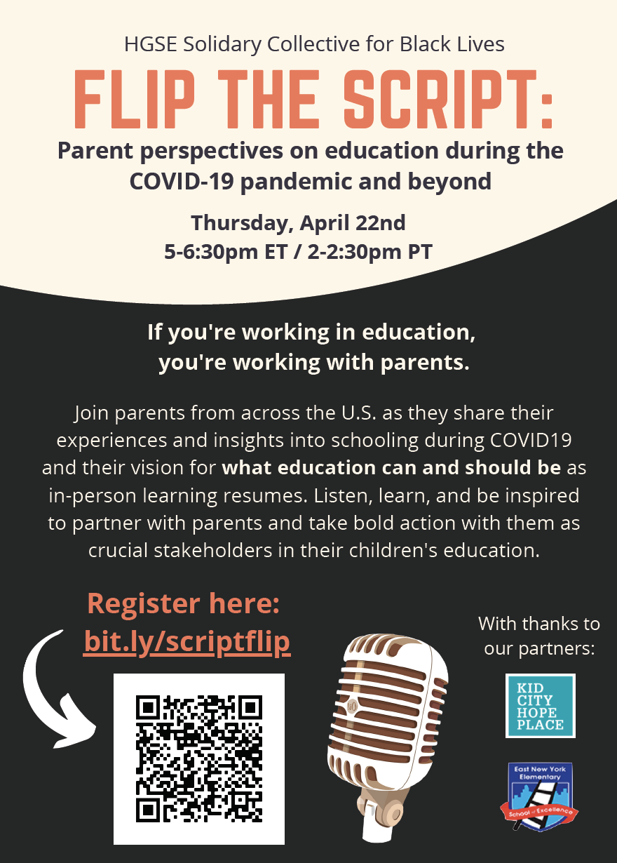 Flip the Script: Parent Perspectives on education during the COVID-19 pandemic and beyond flyer with a tan and black design featuring an image of a microphone.
