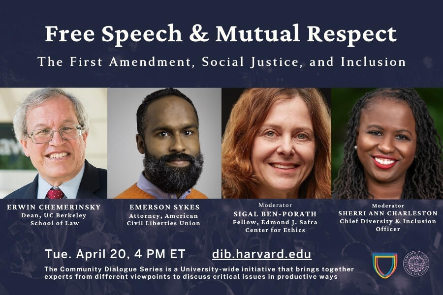 Four First Amendment experts and free speech scholars smiling, including Dean Erwin Chemerinsky, Emerson Sykes, Sigal Ben-Porath, and Sherri Ann Charleston