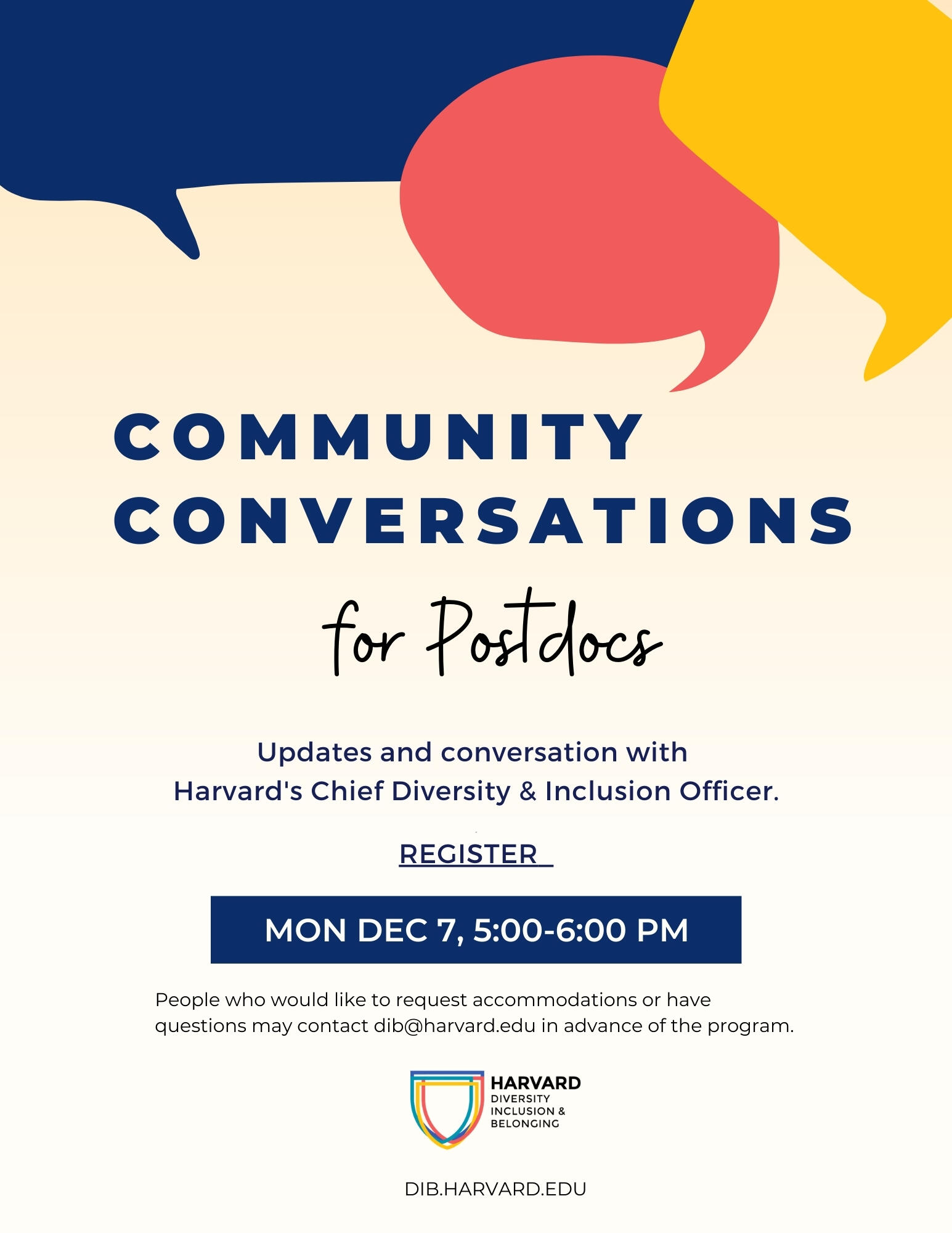 Community Conversations for Postdocs Flyer