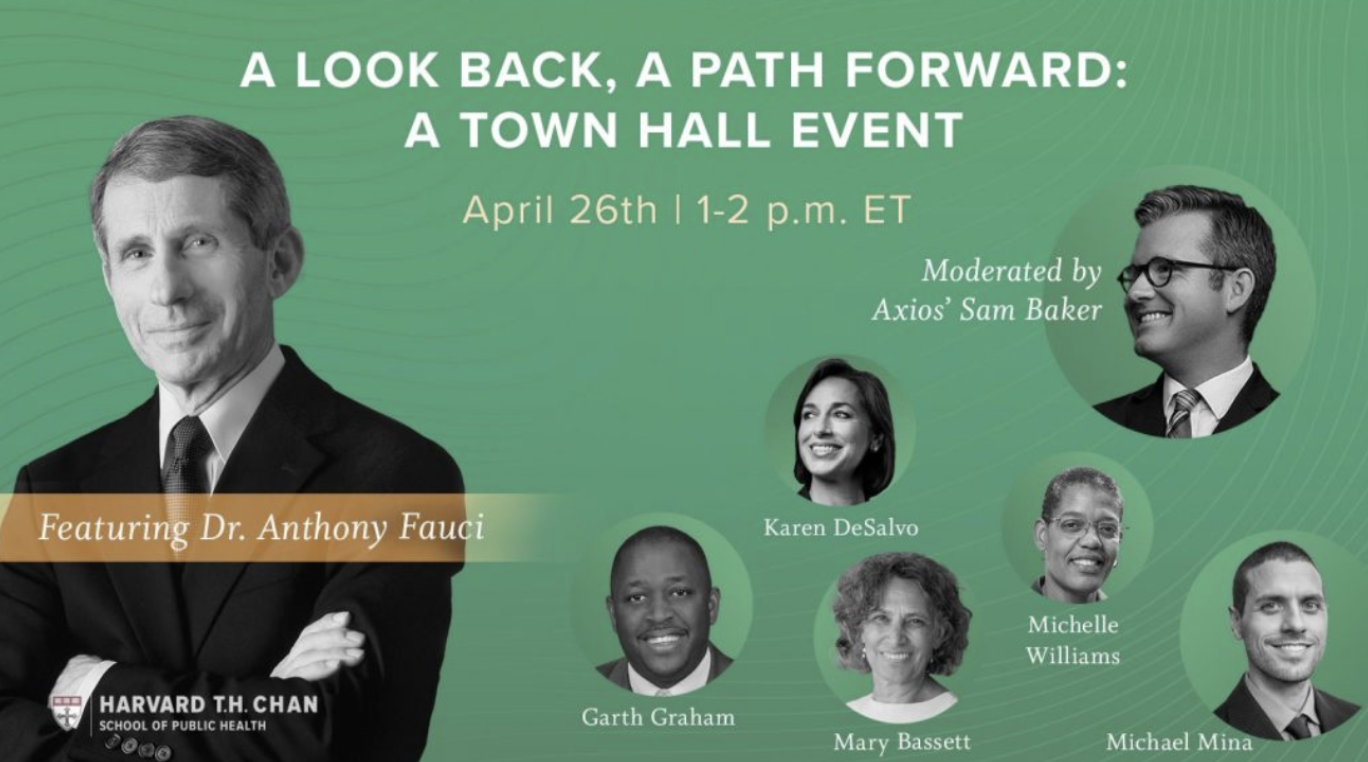 A Look Back, A Path Forward: A Town Hall green event poster featuring guest speaker/moderator images in the shape of circular bubbles.