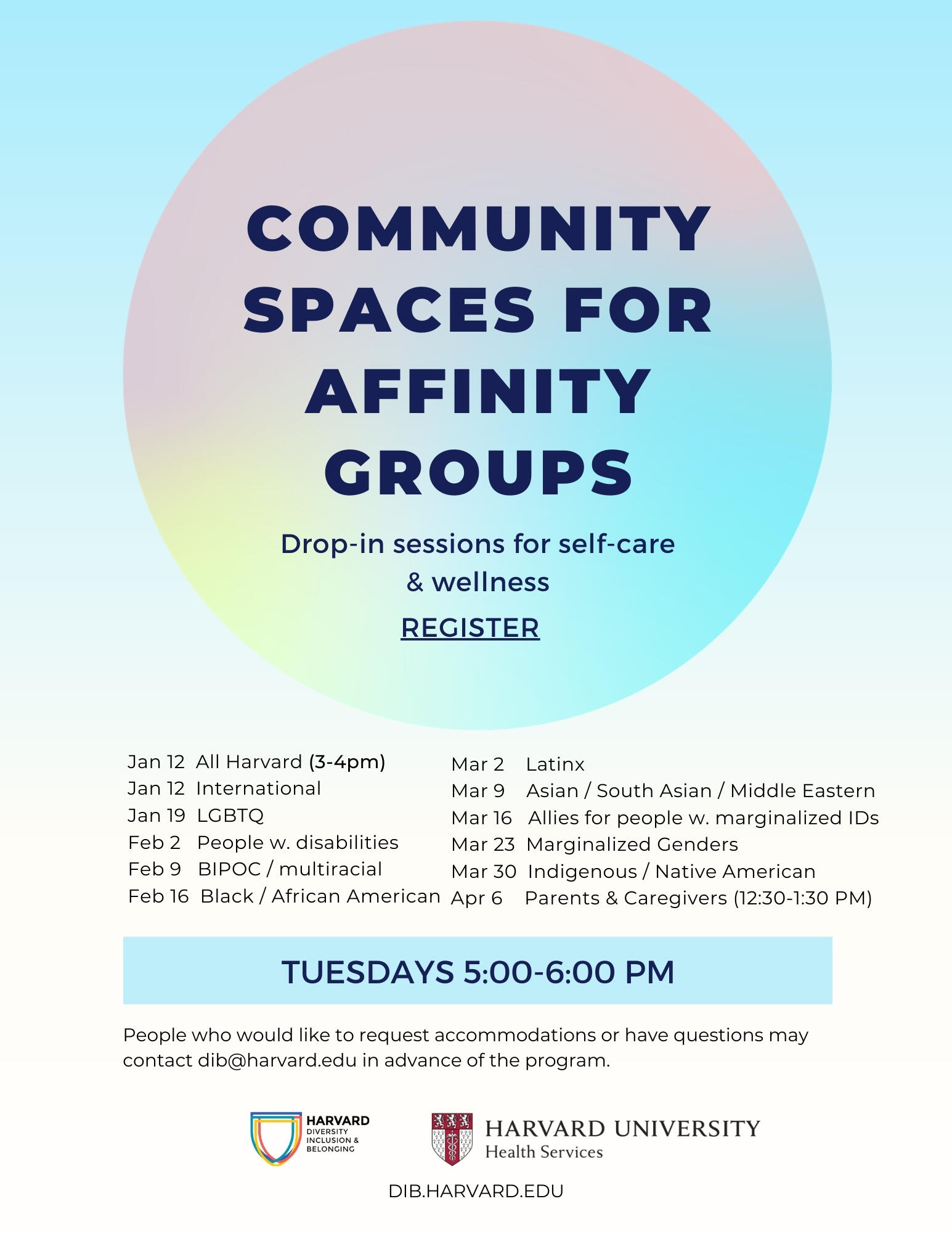 Community Spaces for Affinity Groups, words floating in a rainbow orb against a blue sky