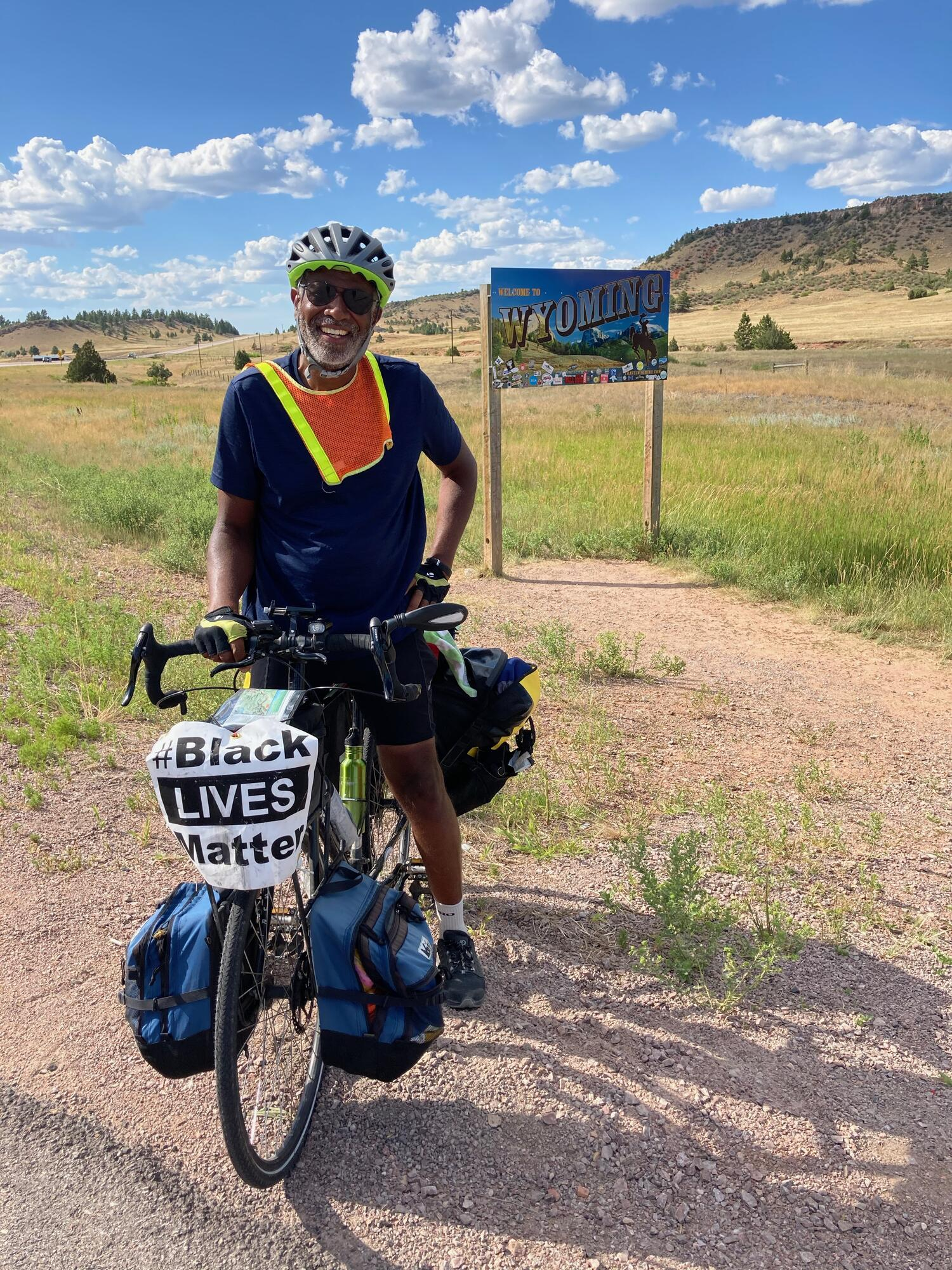 Scott enterying Wyoming on his 2020 x-country bicycle trip