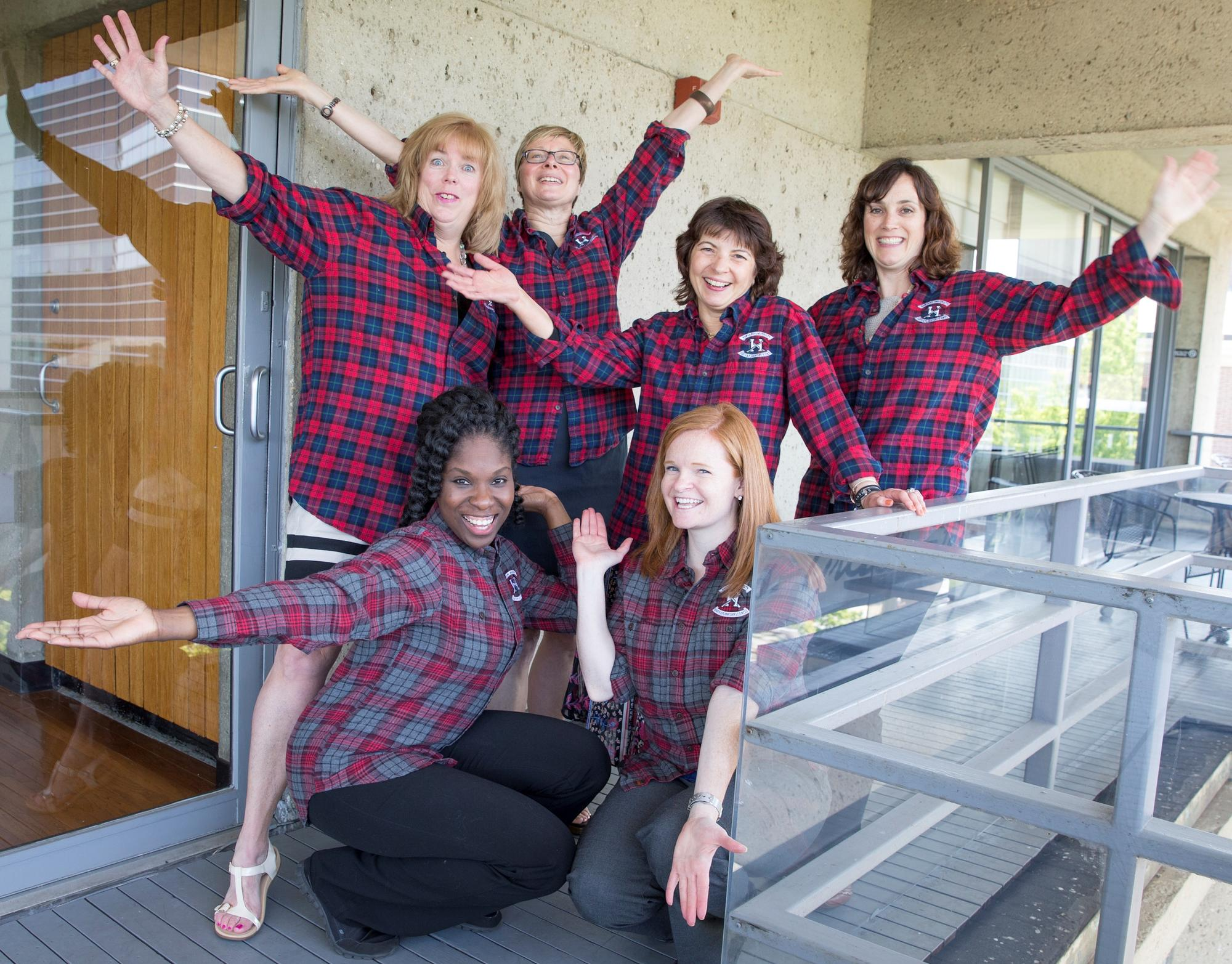 Photo of EPS administrative staff wearing flannel shirts