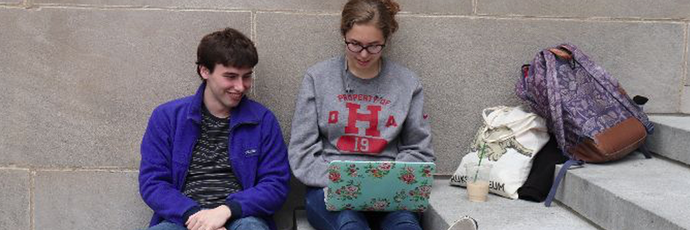Harvard students using laptops