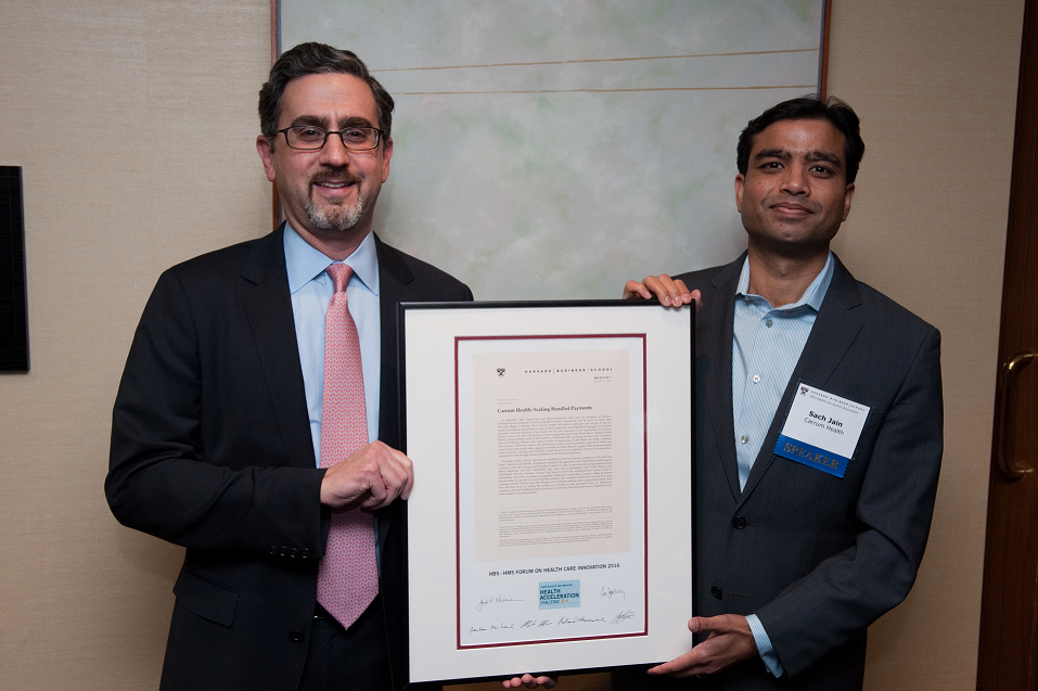 HBS Professor Robert Huckman with Sach Jain, Founder & CEO of Carrum Health