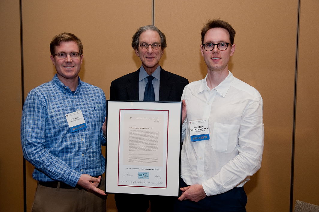 Eric Weiss, Co-founder and CTO, Radial Analytics with HBS Professor Richard Hamermesh and Thaddeous Fulford-Jones, PhD, Co-founder and CEO of Radial Analytics