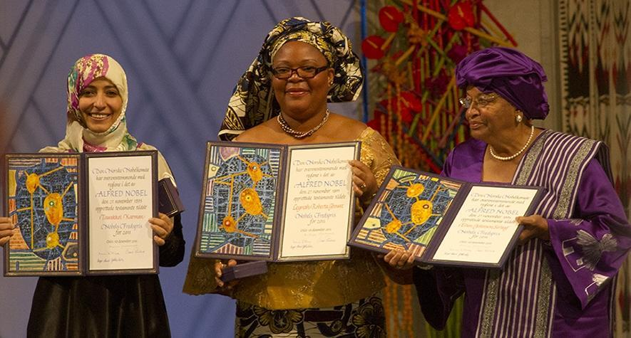 2011 Nobel Peace Prize Winners Tawakkol Karman (left), Leymah Gbowee (center), and Ellen Johnson Sirleaf.