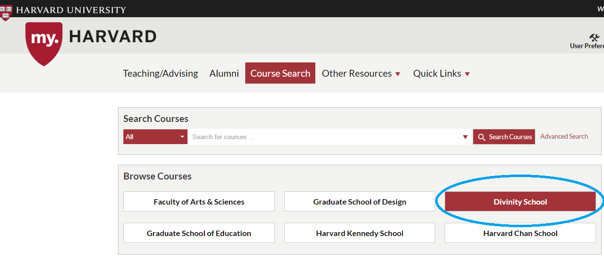 Course Search home page showing Divinity School button