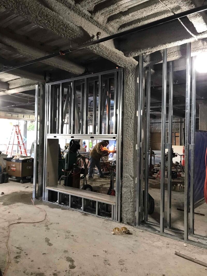 Swartz Hall addition fireplace steel frame