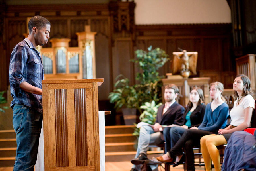 Student preaching a worship service