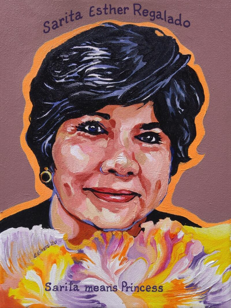 A painting of Sarita Esther Regalado, of Mexico, who was killed in the August 3, 2019 mass shooting in El Paso, Texas. Portrait by Ellen Elmes