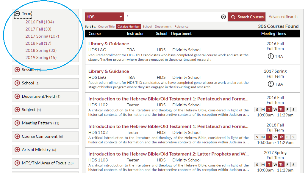 my.harvard search results with term facet circled
