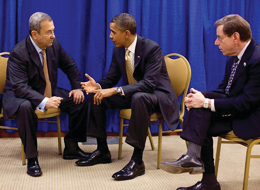 Steven Simon, MTS '77, with Ehud Barak and Barack Obama
