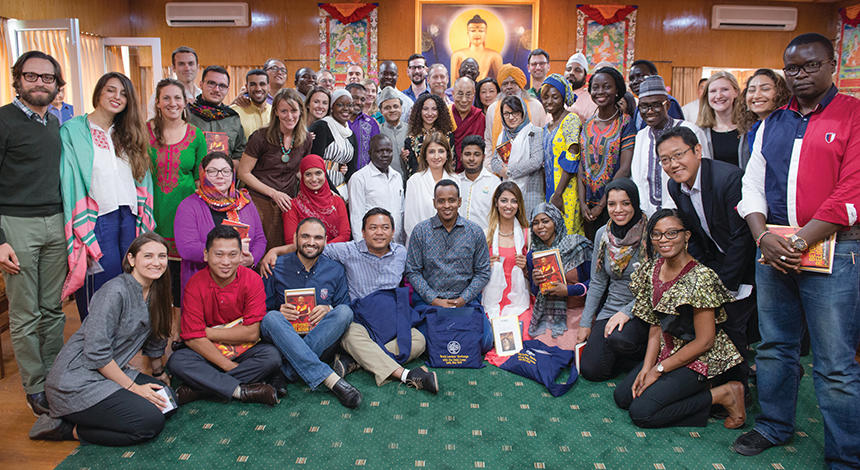 Susan Hayward, MDiv '07, with 28 youth peacebuilders in Dharamsala, India