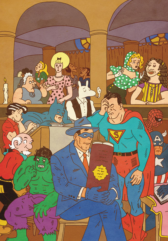 Humorous illustration of numerous famous comic book figures inside a synagogue