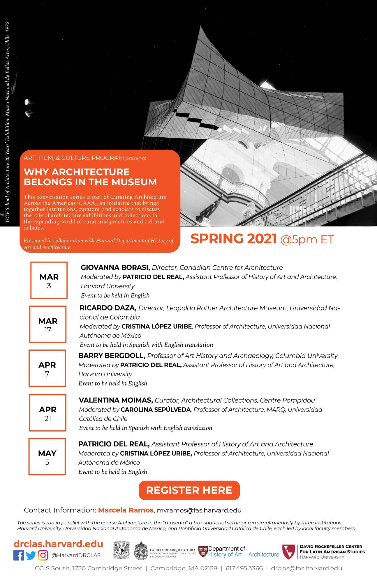 "Poster for ""Why Architecture Belongs in the Museum"" Lecture Series"