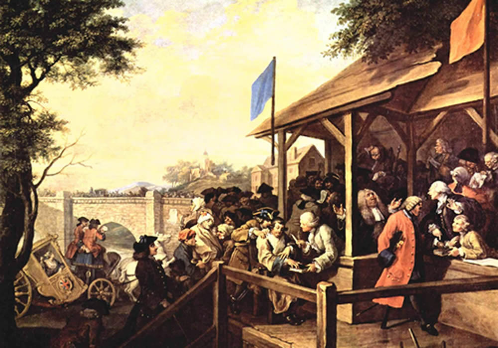 """Polling: The Humors of an Election,"" William Hogarth, 1755"