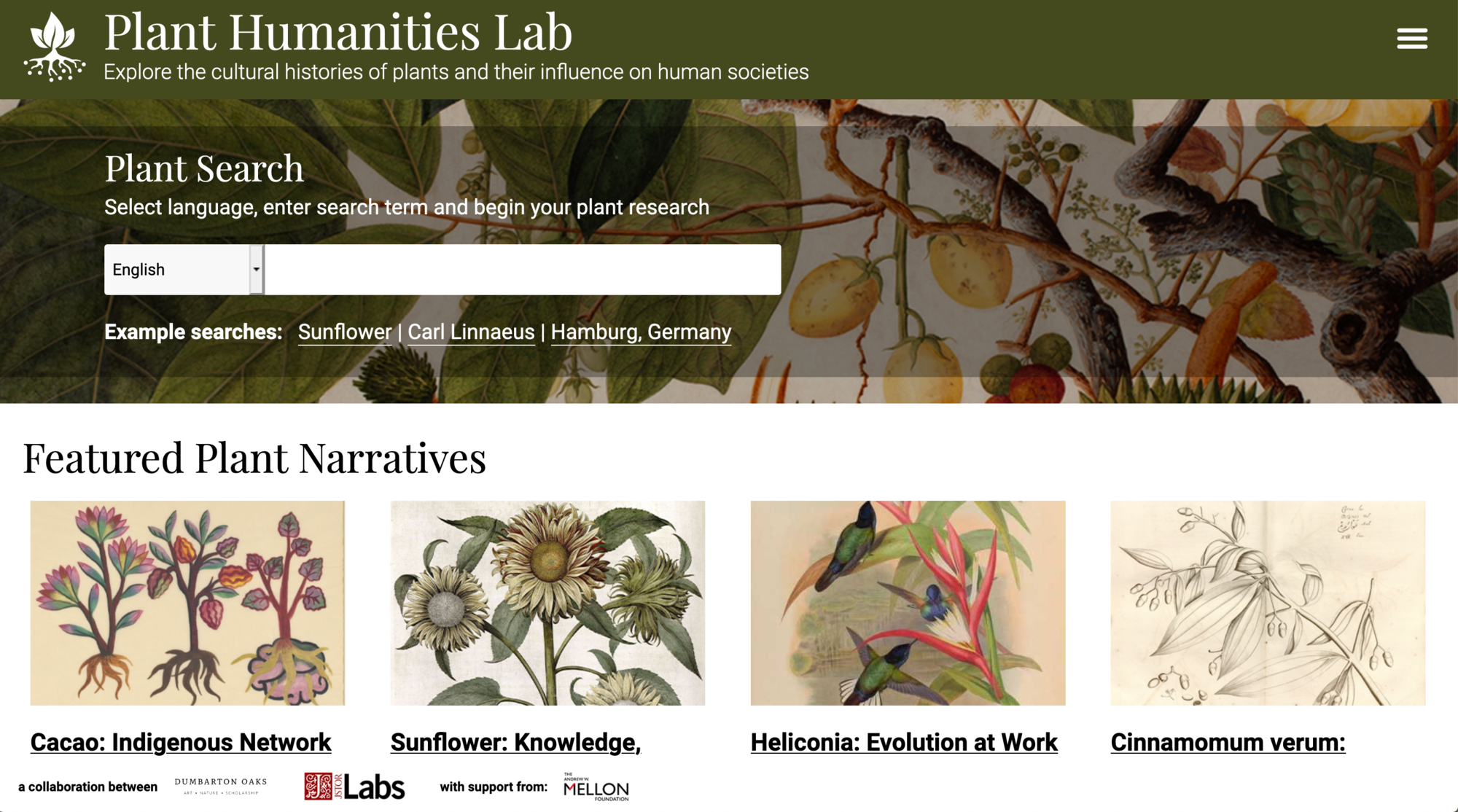 Screen capture of the Plant Humanities Lab homepage