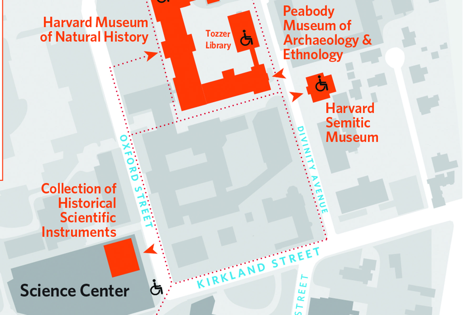 Neighborhood Map for the Harvard Museum of Natural History and sister museums