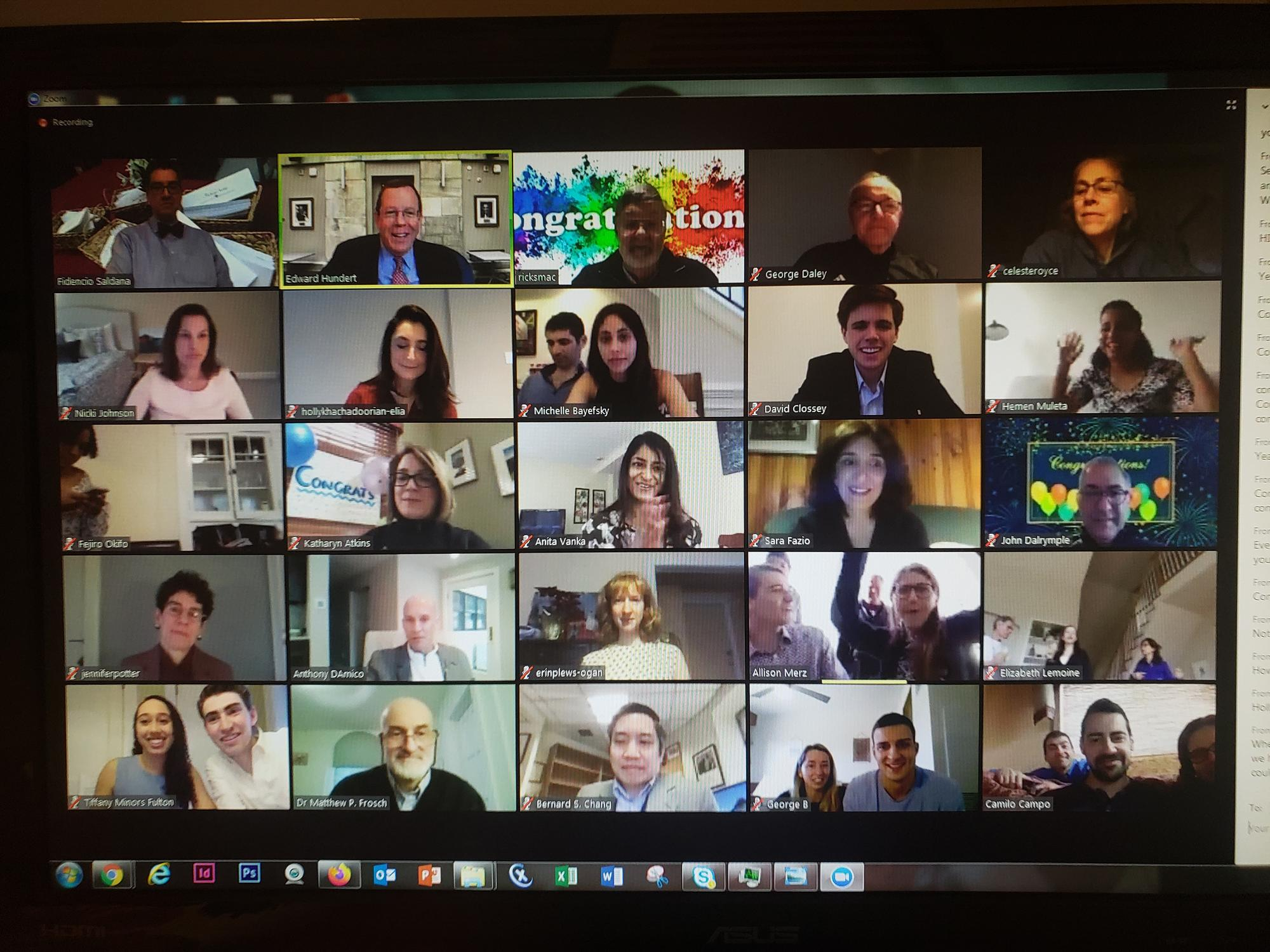 20 different video images of faculty and students gathering virtually to celebrate residency matches. Image: Grace Fehrenbach