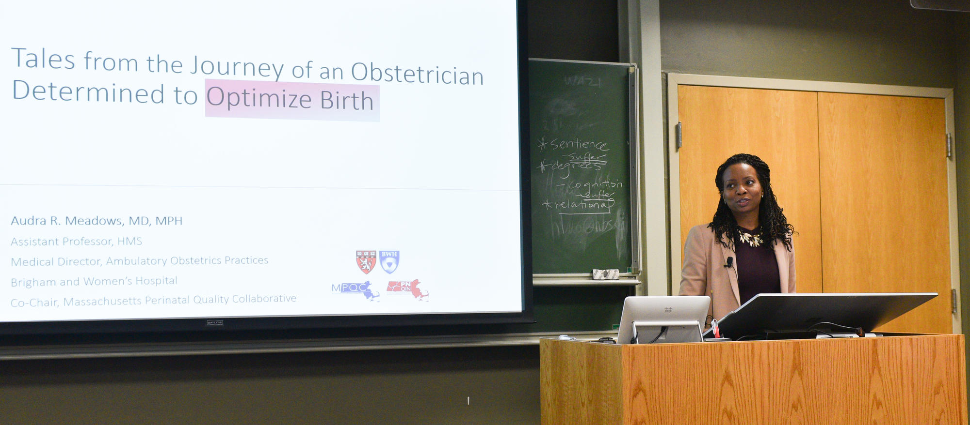 Dr. Audra Meadows at podium presenting Amos lecture. Image: Richard Groleau