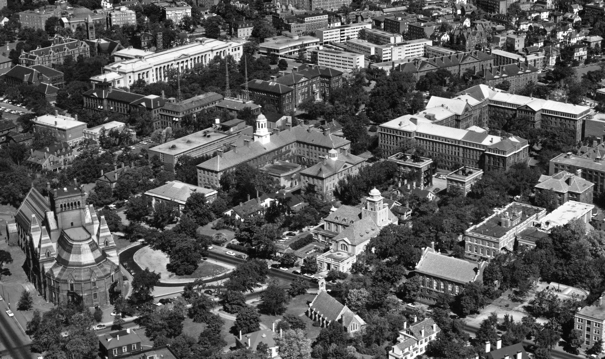 Aerial view of the Cambridge campus from 1958. PIRC# P.1958.CA.0070