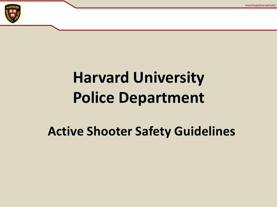 Active Shooter Safety Guidelines
