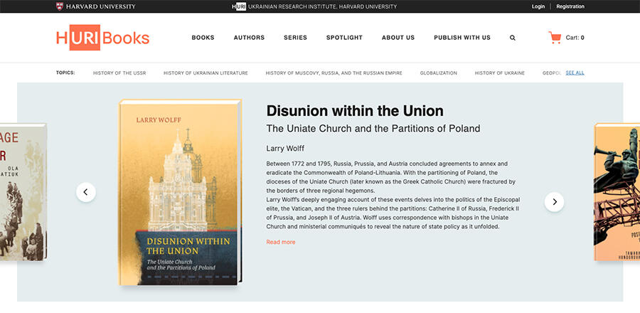 HURI Books homepage screenshot