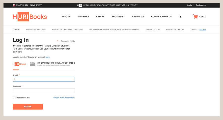 Screenshot of HURI Books login page