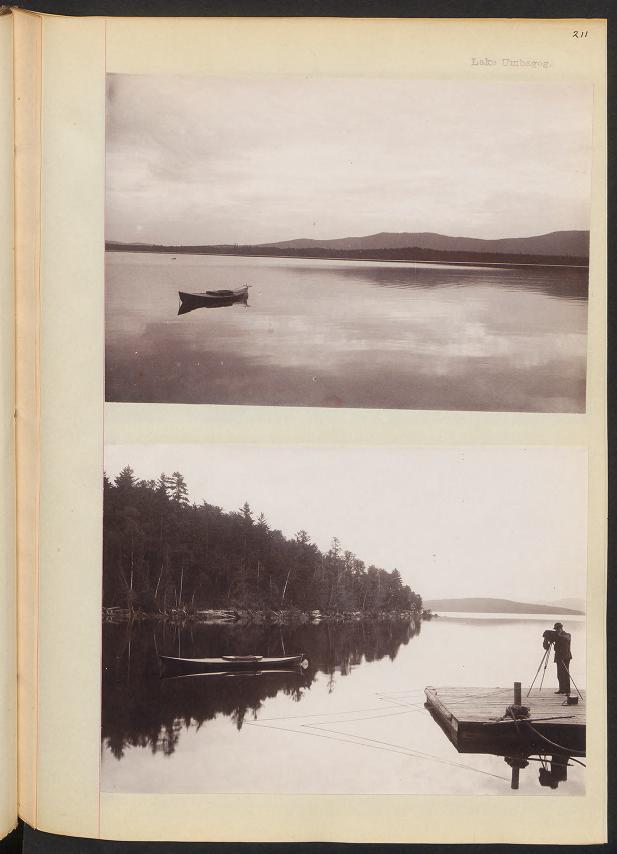 Image of a journal page with two black and white photos attached to it. The top photo is an image of a boat in a lake. The lower photo is a portrait of a person standing on a dock with a camera.