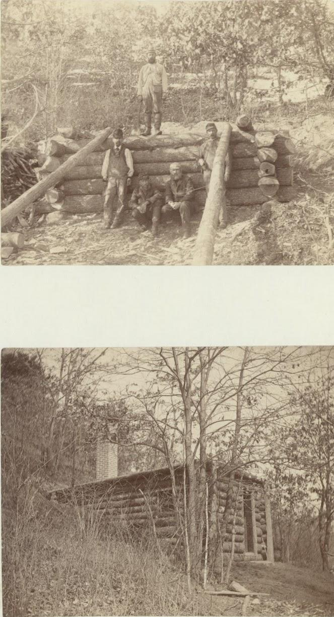 Two images of cabin.
