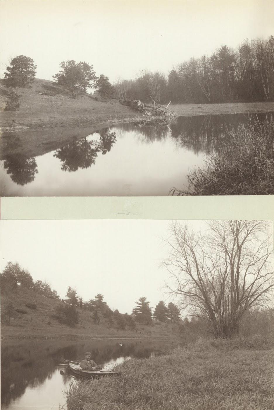Two images of river, one with man in canoe.